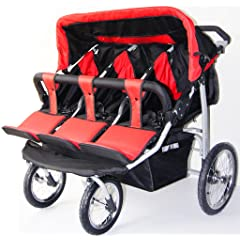 Triple Trio Baby Jogger Stroller - Red