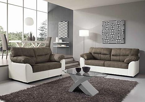 Alba Divano 3 o 2 posti struttura ecopelle seduda nabuk moderno - Bianco / Grigio, 2 posti