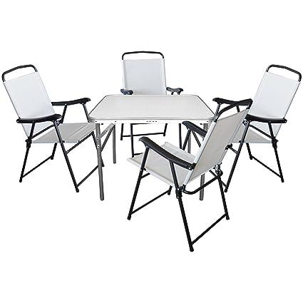 5er Set Camping Sitzgruppe Sitzgarnitur Klapptisch 75x55xH60cm + 4x Klappstuhle mit Textilengewebe Schwarz/Creme