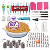 182 PCs Cake Decorating Supplies Kit for Beginners Turntable stand- Cake server & knife set-48 Numbered Easy to use icing tips with pattern chart and 7 Russian Piping nozzles -2 Spatulas (White) (Color: White)