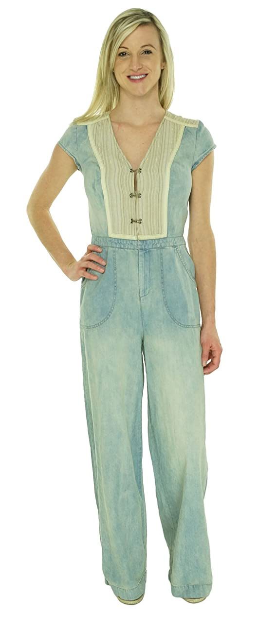 Free People Women's Contrast Bib Denim Jumpsuit