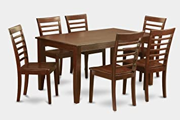 East West Furniture DUML7-MAH-W 7-Piece Dining Table Set
