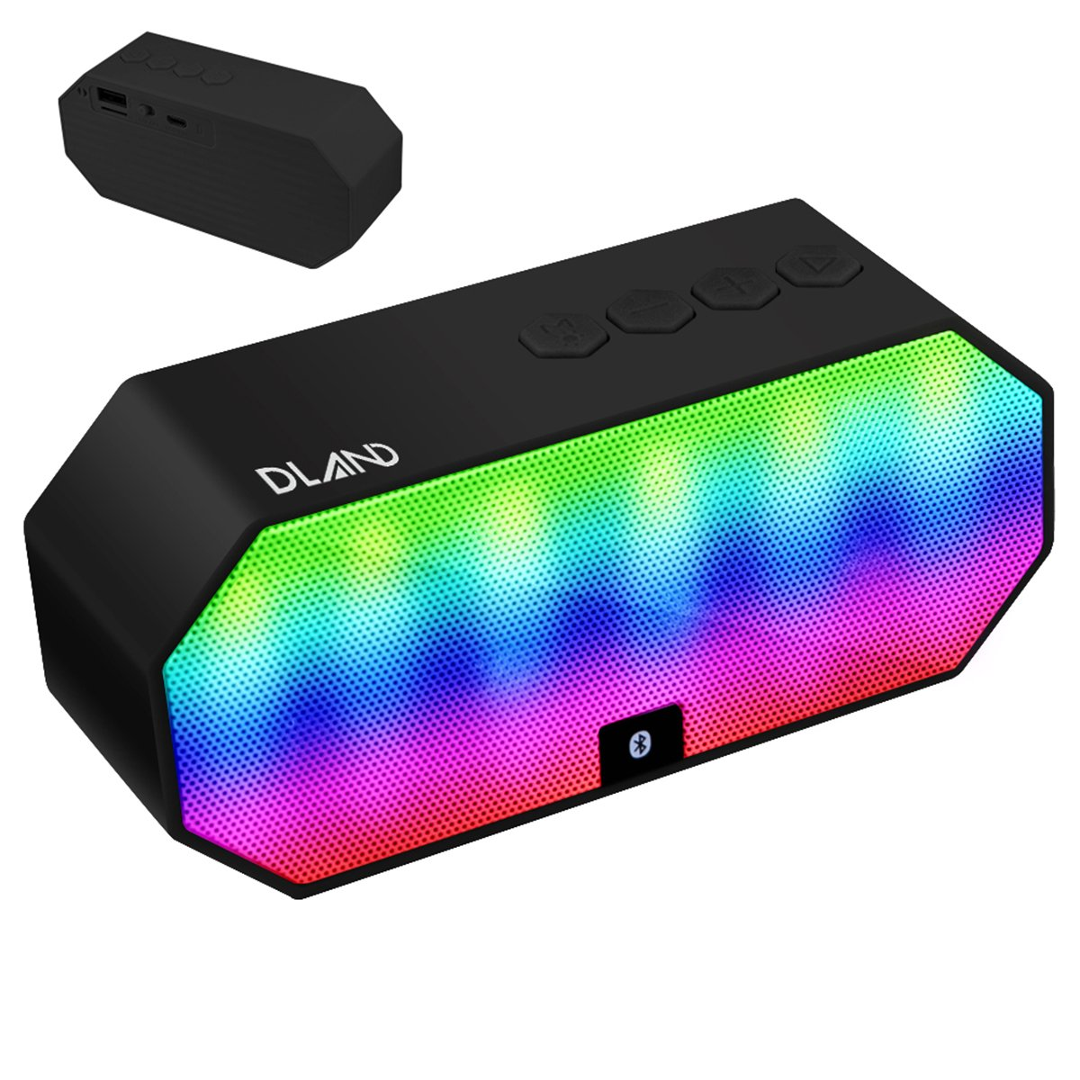 Bluetooth Speakers with FM radio,DLAND Portable Color Changing LED Light Wireless HI--FI Surround Stereo Sound Speaker Speakerphone for Home and Outdoor Party / Beach / Picnic