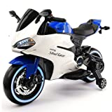 2018 Racing Style Kids Ride-On Motorcycle Toy for Kids | Leather | LED Body Kit | 12V Powered | 2 Wheels | Training Wheels | (Blue) (Color: Blue)
