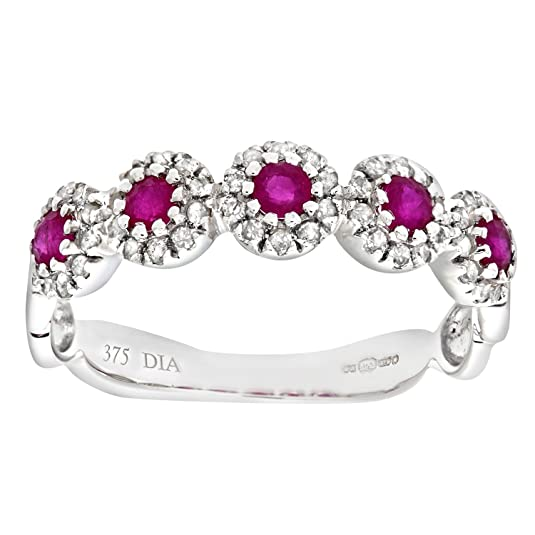 Naava 9ct White Gold Diamond and Ruby Eternity Ladies Ring