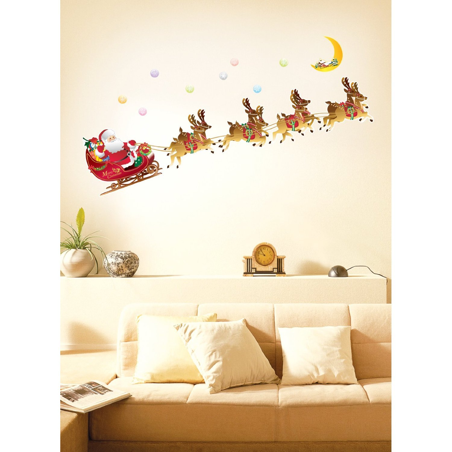 Santa sleigh and reindeer easy instant wall decals 509 from amazon has reduced the price on these easy instant decoration wall sticker decal amipublicfo Gallery