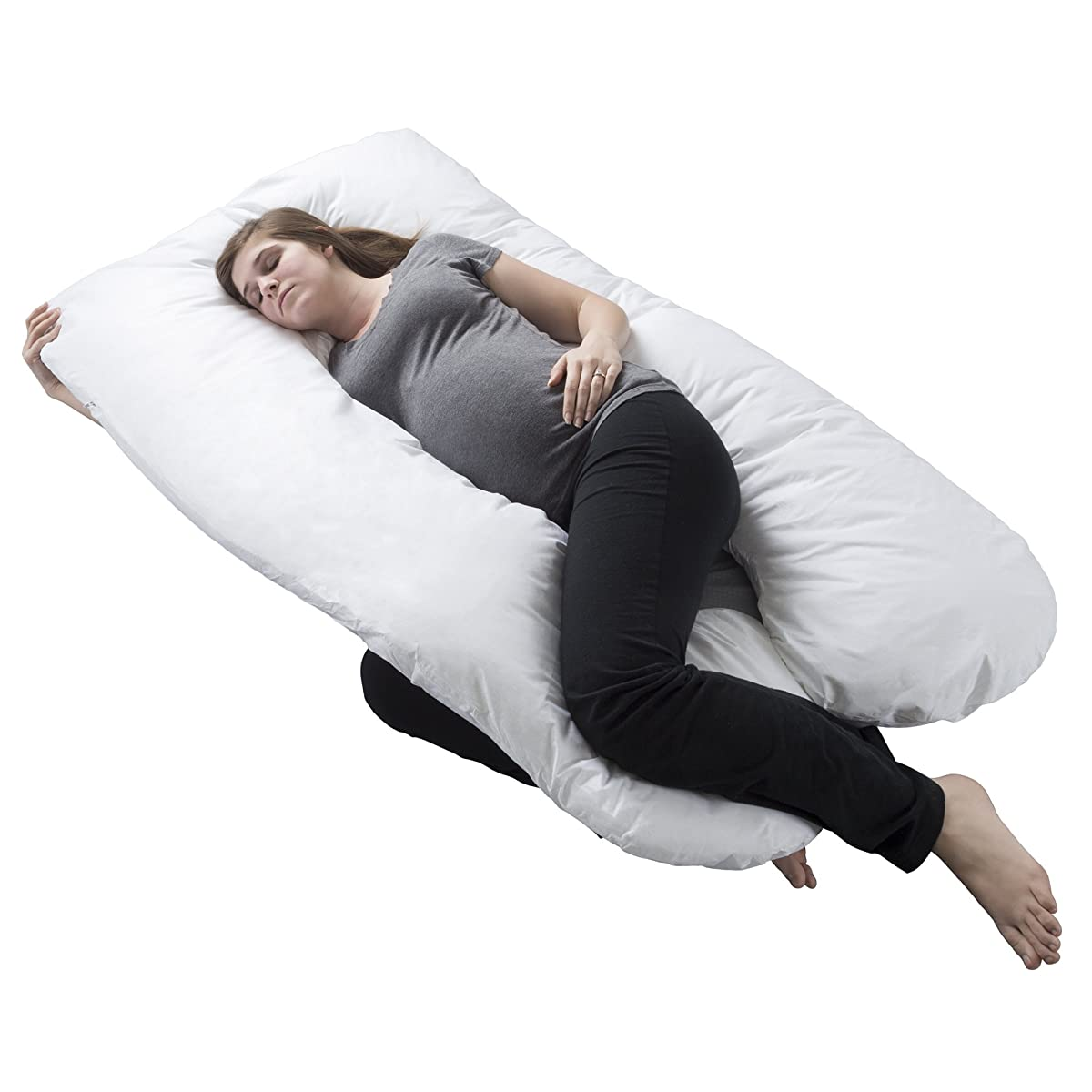 Pregnancy Pillow, Full Body Maternity Pillow w/ Contoured U-Shape by Lavish Home, Back Support