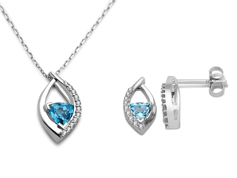 MIORE Damen-Schmuckset Ohrringe und Anhänger 9 Karat (375) Weißgold Blau Topas und Diamant USP019W günstig online kaufen