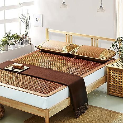 Doble cara Uso cama-mat --- Bambú estera del verano Casa Cómodo y transpirable Plegable Alfombrillas de bambú 1.5m y 1.8m --- cama natural de bambú y ratán plegable ( Tamaño : 180*200cm )