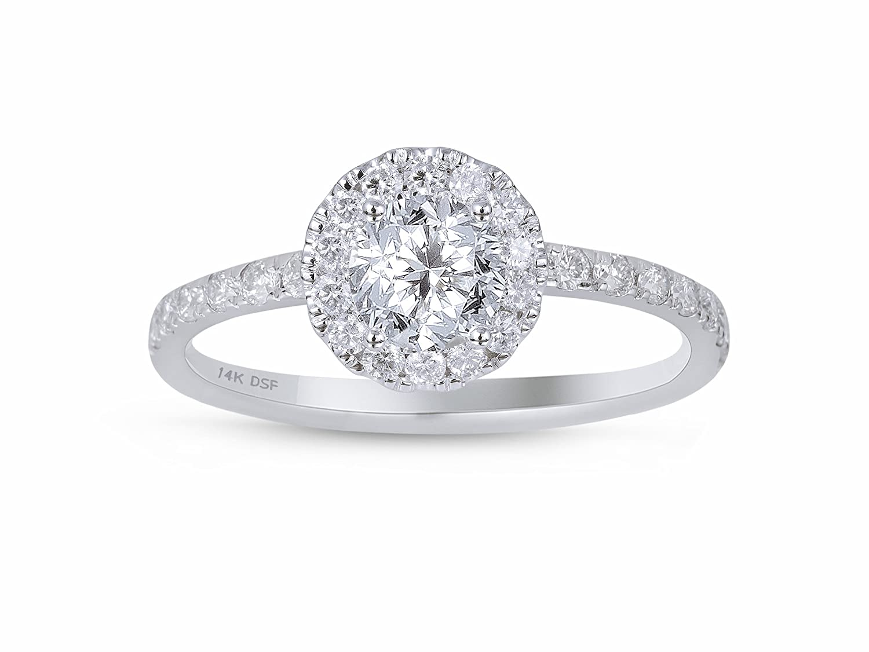 Diamond Studs Forever – Halo-Verlobungsring – 3/4 ct. Diamanten GH/I1 – Weißgold 14 K – IGI-zertifiziert günstig kaufen