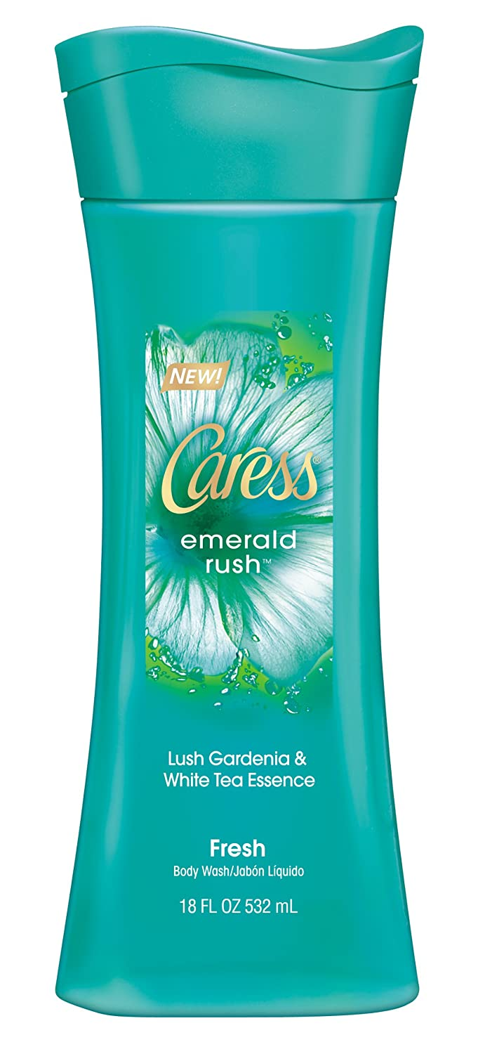 Caress Body Wash, Emerald Rush Lush Gardenia & White Tea Essence 18 ounce, Pack of 6