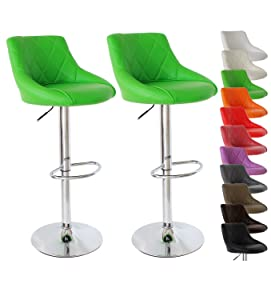 Barhocker 2er Grün, verchromter Stahl und hochwertiger Kunstleder, höhenverstellbarer Barstuhl Barsitz, BS9188    Bewertungen und Beschreibung
