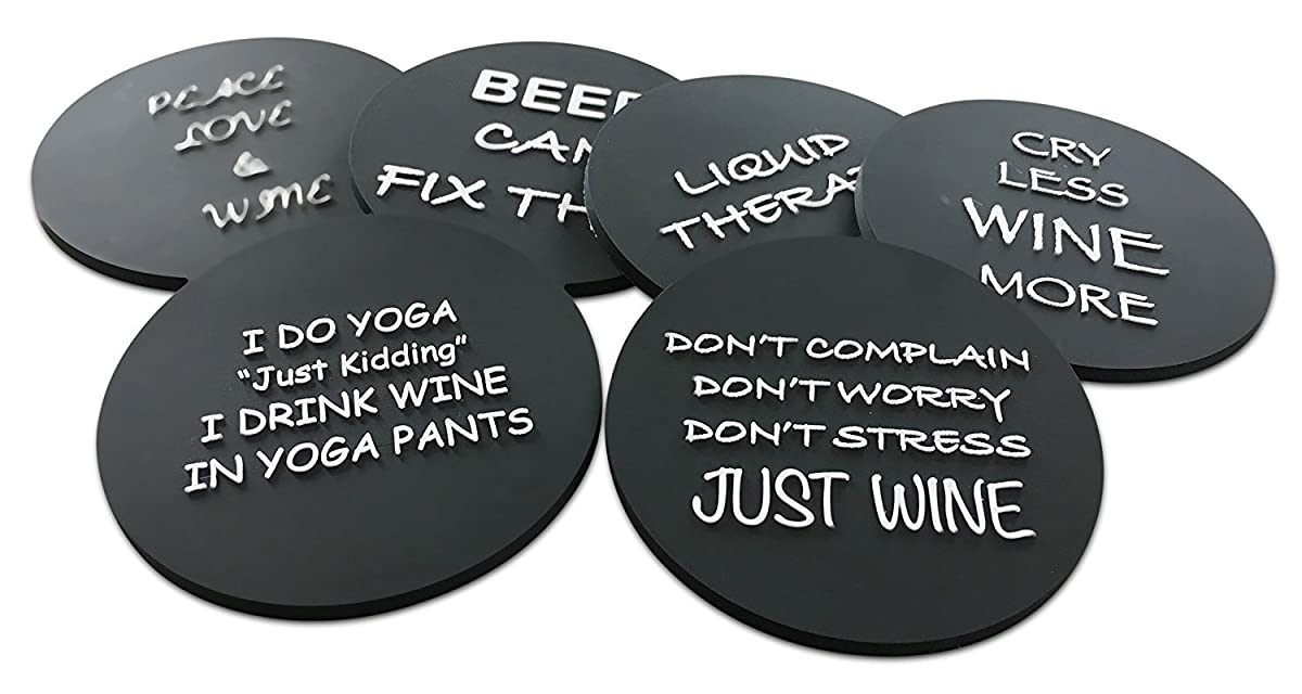 """6 Wine Coasters Funny Drink Premium Coasters for Beer Whiskey Cocktails and more. Large Size 4""""x 4"""" - Rubber Made no fade logo molded to last a lifetime (Black Round)"""