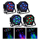 CO-Z LED Stage Lights, 4 Pack 18x3W RGB Par Lights, 4pcs 7 Modes DMX Controlled Sound Activated Stage Effect Lighting for DJ Home Party Festival Dancing Bar Club Wedding Church Uplighting