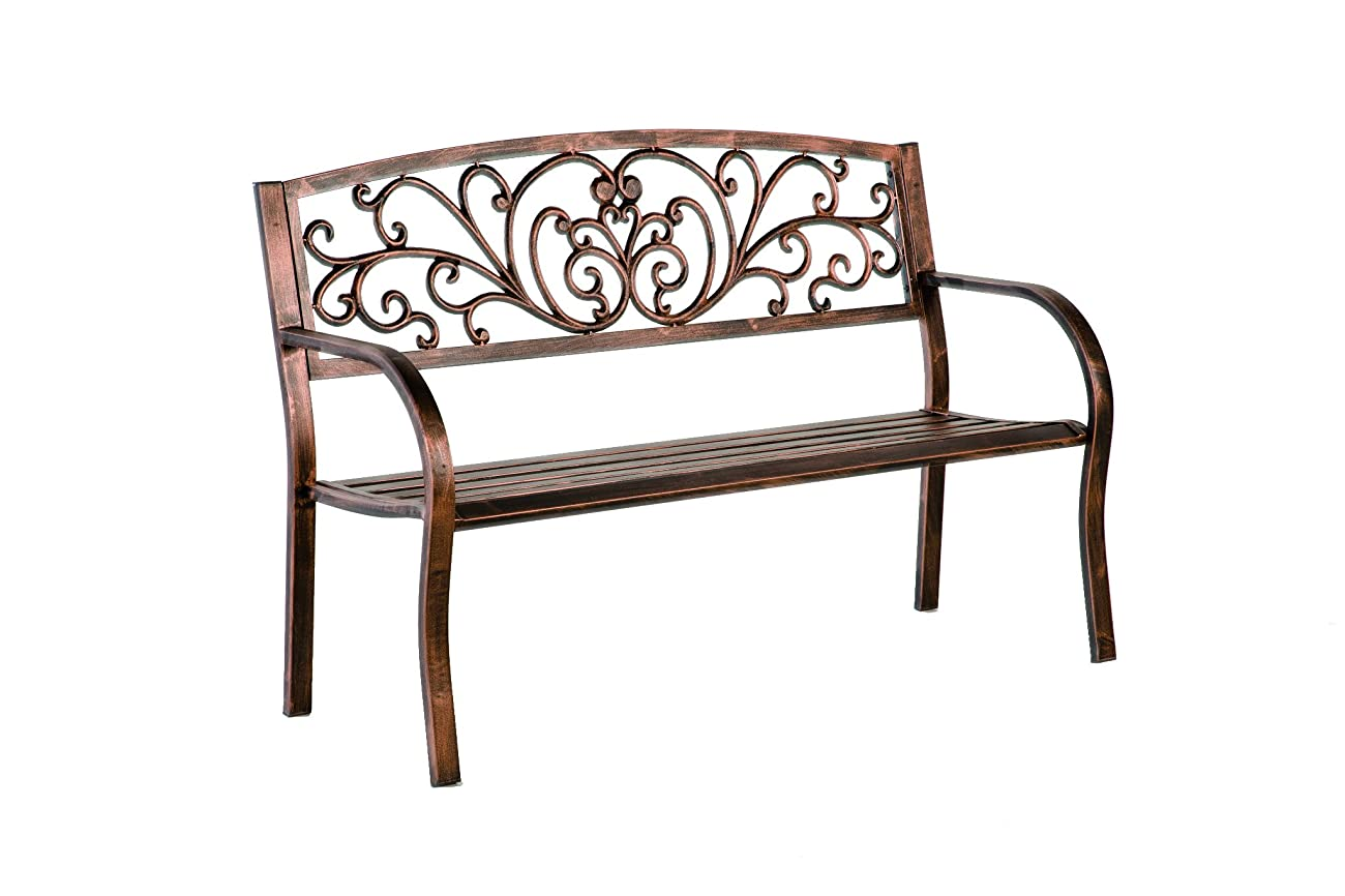 Plow & Hearth Blooming Patio Garden Bench Park Yard Outdoor Furniture, Iron Metal Frame, Elegant Bronze Finish, Easy Assembly 50 in L x 17 1/2 in W x 34 1/2 in H 0