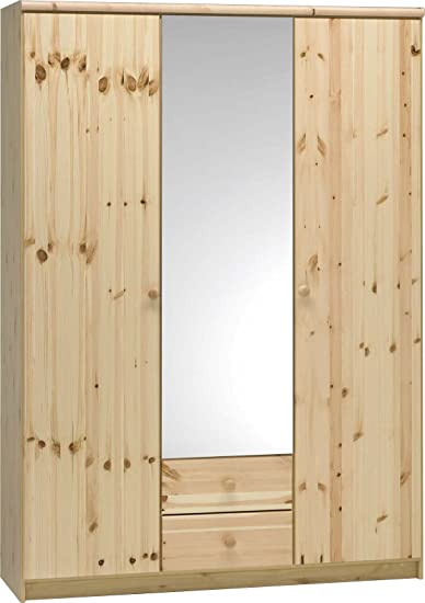 Steens Axel 3 Door/2-Drawer Pine Wardrobe includes 1 Mirrored Door, Natural Lacquer Finish