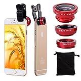 Kit micro lentes XCSOURCE® DC264R con Clip para celulares iPhone 4 4S 4G 5 5G 5S Samsung Galaxy S3 i9300 S4 i9500  - Lente Ojo de Pez 180 grados + Gran Angular + Macro (Rojos)