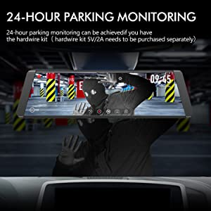 AUTO-VOX X2 9.88 Mirror Dash Cam,Dual Lens Streaming Media Touch Screen Rear View Mirror,1296P FHD Front and 720P AHD Camera Recorder,140°Wide Angle backup Camera, G-Sensor, LDWS, WDR,GPS