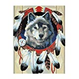 DIY 5D Diamond Painting Full Drill Embroidery Cross Stitch Arts Craft Canvas Wall Decor Wolf and Feather 11.8 × 15.7in 1 Pack by Light S Direct (Color: Wolf And Feather, Tamaño: 11.8x15.7in)
