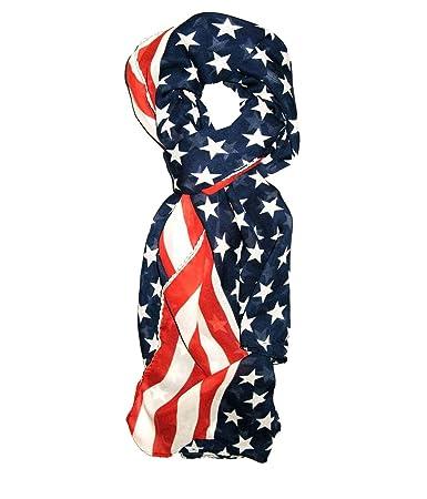 """Scarf FALL PATRIOTIC AMERICAN FLAG  Polyester Silk Feel 13/"""" x 60/"""" Stylish"""