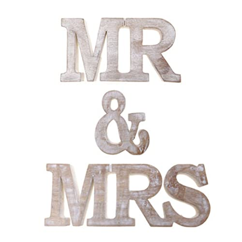 Lindsay Interiors Mr & Mrs Wood Letters freestanding. Whitewashed Wedding Decoration Prop or Gift