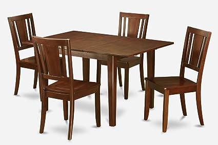East West Furniture MLDU5-MAH-W 5-Piece Kitchen/Dinette Table Set