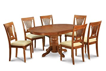 East West Furniture AVPL7-SBR-C 7-Piece Dining Table Set