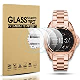 Diruite 4-Pack for Michael Kors Access Bradshaw Tempered Glass Screen Protector for MKT5001/5004/5013 Smart Watch [Anti-Scratch] [Perfectly Fit] [Optimized version] - Permanent Warranty Replacement (Color: clear)