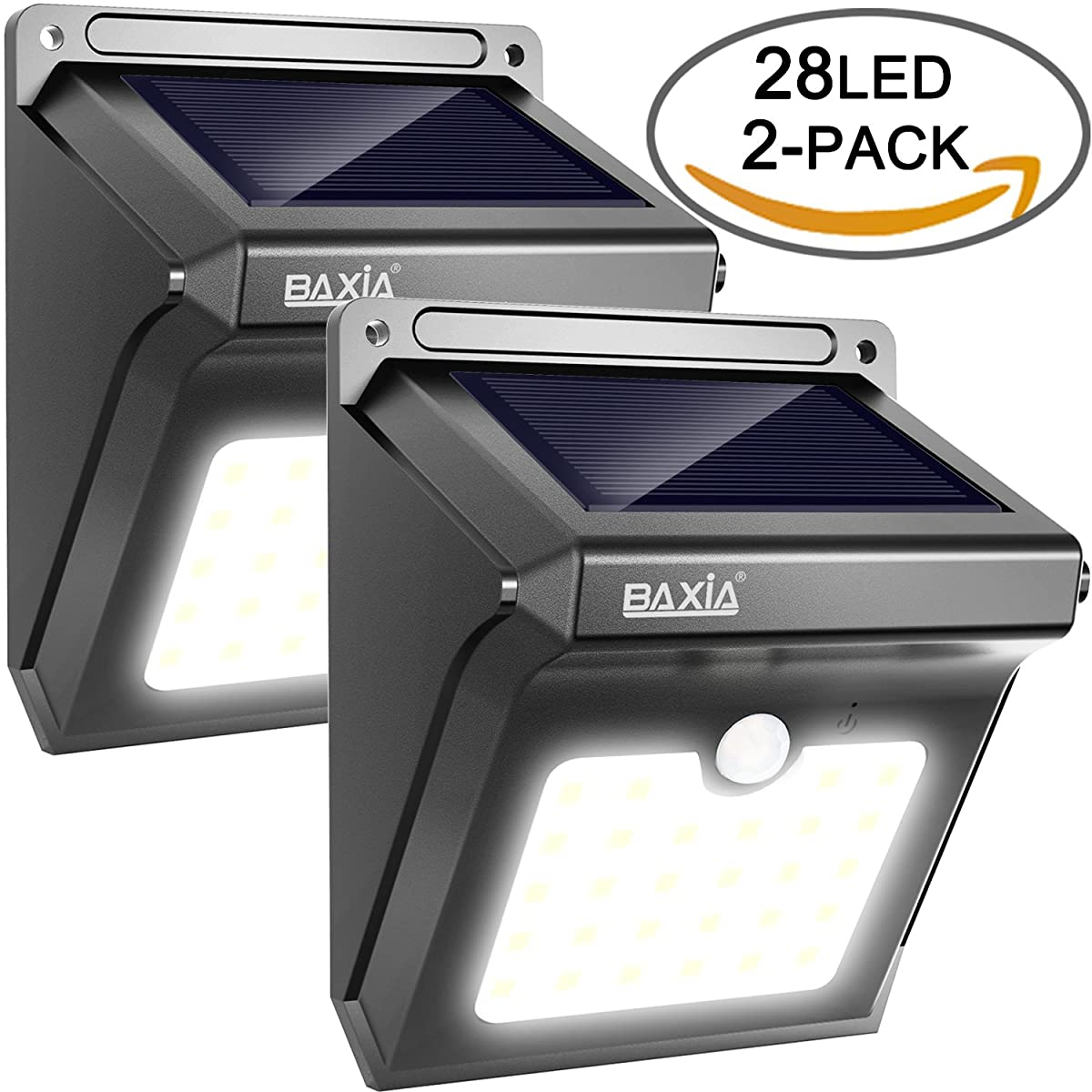 Upgraded 28 LED Solar Motion Sensor Security Wall Lights-BAXIA TECHNOLOGY Waterproof Wireless Bright LED Light for Outdoor Gate, Door, Driveway, Garden, Patio, Yard(2 Packs)
