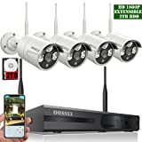 ?2018 update? OOSSXX 8-Channel HD 1080P Wireless System/IP Security Camera System 4Pcs 1080P 2.0 Megapixel Wireless Indoor/Outdoor IR Bullet IP Cameras,P2P,App, HDMI Cord & 2TB HDD Pre-install