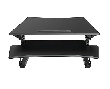 Sit–Soporte altura ajustable ergonómico de escritorio estación de trabajo | elevador de escritorio Dual Monitor–habitación para PC y portátil. (tamaño mediano), color negro 890mm
