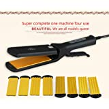 1110-220V Anion Multifunction Hair Straighning Hair Curler Corn Curler Hair Curler Wave Curling Iron Hair Styler One machine four use US (Color: One machine four use, Tamaño: US)