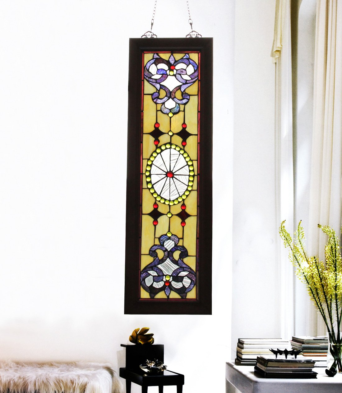 Makenier Vintage Tiffany Style Stained Church Art Glass Decorative Long and Narrow Window Panel Wall Hanging 3