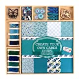 Craft Sensations Card Making Pack, Blues and Greens, 50 Items, Sheets, Twine, Stamp, Wooden Shapes, Buttons, Rhinestones and More (Color: Multicoloured)
