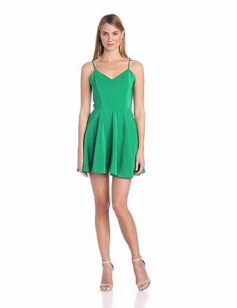 Amanda Uprichard Women's Bowery Cami Fit and Flare Silk Dress, Green, Medium