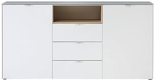 NEWFACE SFDK233-T29 Stamford Kommode, Holz, weiß + sonoma eiche, 181 x 41.7 x 92.3 cm