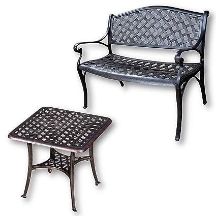 Lazy Susan - JASMINE Gartenbank und SANDRA Quadratischer Kaffeetisch - Gartenmöbel Set aus Metall, Antik Bronze