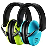 Mpow Kids Ear Protection 2 Pack, NRR 25dB Noise Reduction, Hearing Protection for Kids, Toddler Ear Protection for Hunting Season, Shooting Range, Car Race, Traveling, with Carrying Bags-Blue&Green (Color: Blue&Green, Tamaño: 2 Pairs)