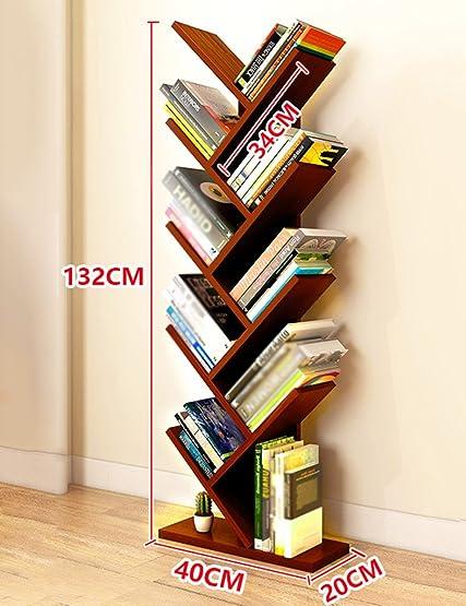 HWF Porta oggetti scaffali Libreria per bambini Libreria a forma di albero Libreria Scaffale Soggiorno Camera da letto Camera da letto moderna Personalità minimalista ( Colore : Teak color )