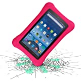 LTROP Shock Proof Case for Fire HD 8 2018/2017 Tablet - Kids Shockproof Convertible Handle Light Weight Protective Stand Case for Fire HD 8-inch (8th Gen & 7th Generation, 2018/2017 Release), Rose (Color: Rose)