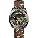 Bomberg Men's Bolt 68 45mm Multicolor Cloth Band Steel Case Quartz Grey Dial Analog Watch 45CHPGM.038.3 (Color: grey)