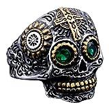 INRENG Men's Stainless Steel Silver Gold Gothic Cross Skull Ring Green Eye Vintage Flower Carved Halloween Size 14 (Color: green eye)