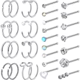 Chinco 32 Pieces C-Shaped Nose Ring L-Shaped Hoop Tragus Nose Studs Bone Curved Hoop Tragus Cartilage Hoop Piercing (Style Set 2, Steel Color) (Color: C Shape, Bone Stud, Steel Color)