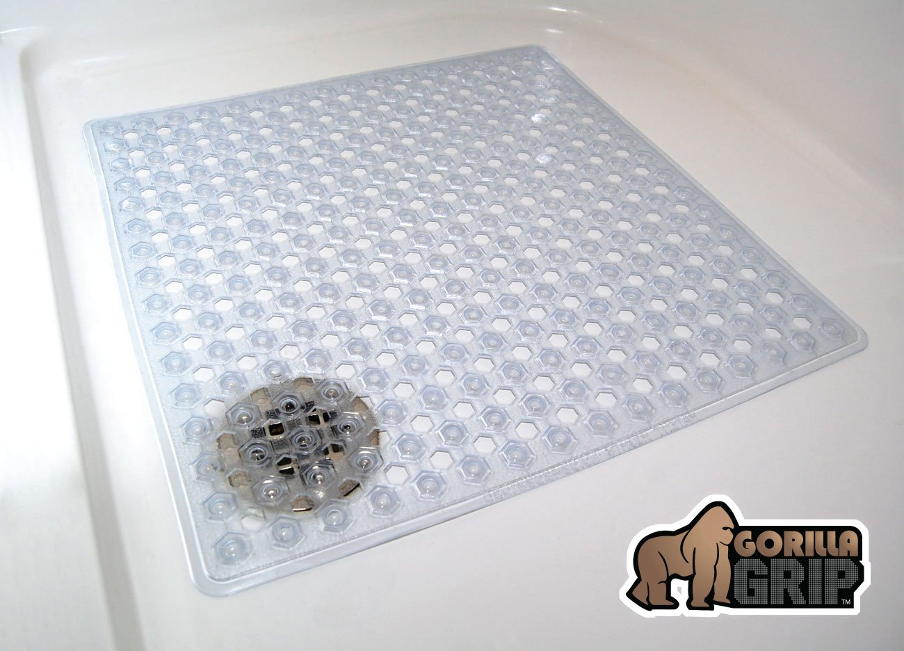 "The Original GORILLA GRIP (TM) Non-Slip Shower Mat Featuring Powerful Gripping Technology, Highest Quality Material, Fits Any Size Shower (Clear: Square 21"" x 21"")"