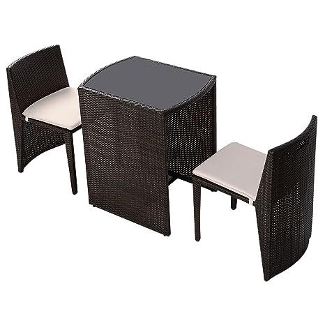 LD Muebles de Jardín Ratán Lounge Juego de 3Polirratán Asiento Grupo Muebles de ratán