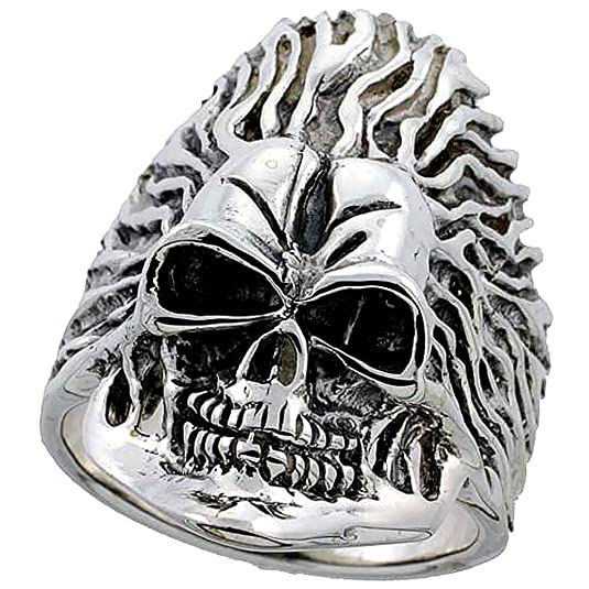 Sterling Silver Skull on Flames Ring (35 mm) wide, sizes P to Z+2
