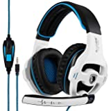 SADES SA810 Gaming Headset Stereo Surround Sound Headphones Volume Control Bass Gaming Headphones with Noise Isolating Microphone For Xbox One PS4 PC Laptop Mac(White and Blue) (Color: White&Blue)