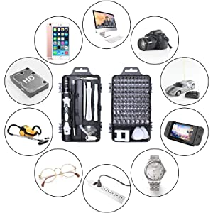 Precision Screwdriver Set,Fomatrade 112 in 1 Repair Tools Kit with Magnetic Driver Kit,Electronics Precision Screwdriver Set with Portable Bag for Repair Computer, Cell Phone, PC, iPhone,Lap Black (Color: 112 in 1 Black)