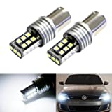 iJDMTOY (2) Xenon White 15-SMD LED Replacement Bulbs For 2011-2017 Volkswagen MK6 Jetta For Daytime Running Lights