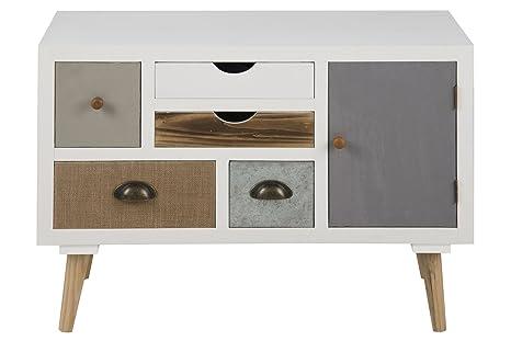 AC Design Furniture 63375 comò Suwen più cassetti colorati, 1 porta, gambe in legno di pino, vernice trasparente, 5 pcs, bianco/grigio